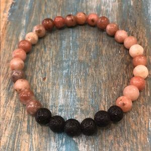 Cherry quartz lava rock stretch bead bracelet NEW